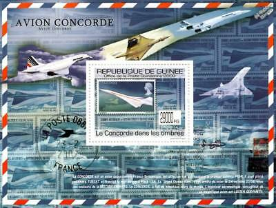 Air France CONCORDE (GB Stamp on Stamps) Aircraft Stamp Sheet (2009 Guinea)