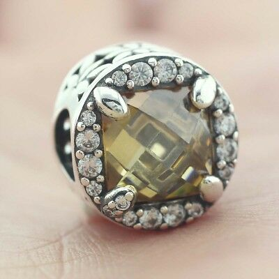 925 Sterling Silver Radiant Grains Of Energy Charm Clear Golden Colored CZ 2018