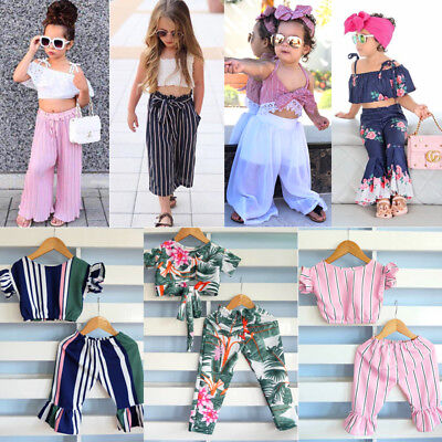 Toddler Kids Baby Girls Stripes Off Shoulder Crop Top Long Pants Outfits Clothes