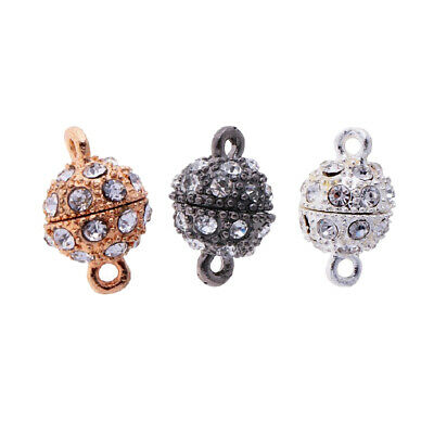 6x Rhinestone Paved Diamante Round Ball Magnetic Clasp Jewelry Findings 10mm