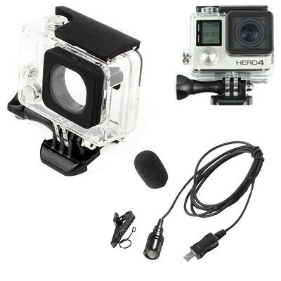 Clear Skeleton Housing Case &6.5FT External Microphone Mic For GoPro Hero 4 3+ 3