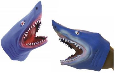 Blue Stretchy Soft Shark Hand Puppet (2 Pack) Sea Life Ocean Toy