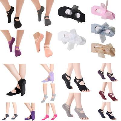 Women Yoga Fitness Non-Slip Skid Ballet Dance Socks Toeless Backless Solid AU BC