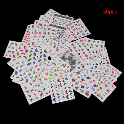 3D Nail Art Transfer Stickers 50 Sheets Flower Decals Manicure Decoration Tips_S
