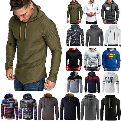 Herren Kapuzenpullover Sweatshirt Hoodie Pulli Strickjacke Winter Sweater Top DE
