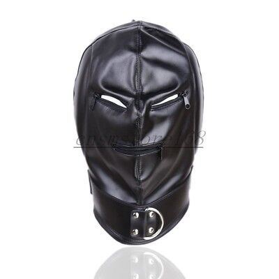 PU Leather Slave Head Hood Mask Party Zip Lock Eye Mouth Restraint Foreplay Game