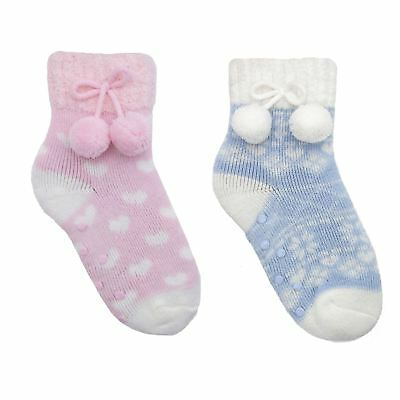 2 Pairs Girls Slipper Socks Pom Pom Detail Spot Grips Thick Warm Pink Blue