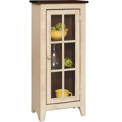 Vintage Glass Panel Cupboard in Cream Tobacco Brown Solid Wood Kitchen Display