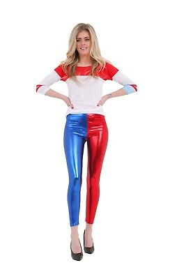 Ladies Luxury Red/Blue Shiny Metallic Legging Women's Halloween Fancy Dress