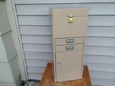 Vintage Metal Industrial Office Filing Storage Cabinet/box With Lock And Keys