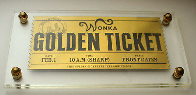 LE 2005 Willy Wonka Chocolate Factory Movie Golden Ticket in Holder
