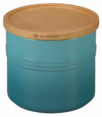 "Le Creuset Stoneware 5 1/2"" Canister with Wood Lid, 1 1/2 quart, Caribbean"