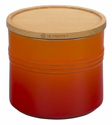 "Le Creuset 5 Stoneware 1/2"" Canister with Wood Lid, 1 1/2 quart, Flame"