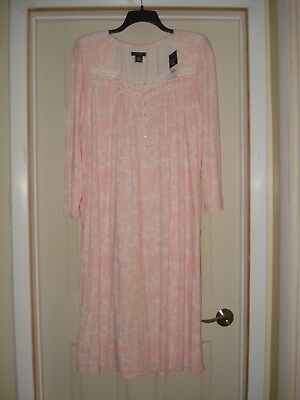 New NWT Womens Size 1X Earth Angels Long Nightgown Pink Paisley VERY SOFT NICE!!
