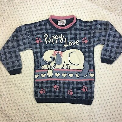Vintage 80s Heartworks Puppy Love dog Knit Long Sleeve sweater Children's 7/8