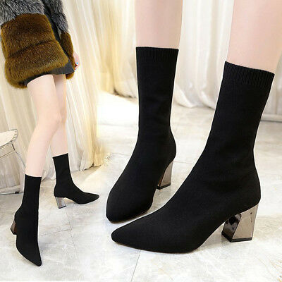 7bc1422be8a4 Women Elastic Sock Ankle Boots High Heels Stretch Autumn Fashion Chunky  Shoes
