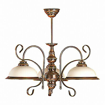 Real Brass Ceiling Lamp Glass Filigran Art Nouveau Living Room Lamp Antique