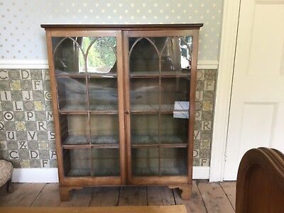 Antique mahogany glass-fronted bookcase