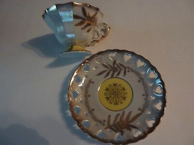 Vintage  Royal Halsey Fine China Yellow Flowers Heart Cut Outs Tea Cup & Saucer