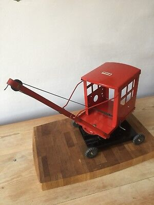 Vintage Large Red Triang Crane with Hook Tyres & Roof marked Tri-ang Original