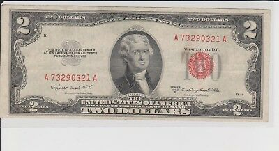 Currency Note 1953 2 Dollar Bill Red Seal Note Paper Money United States V/F
