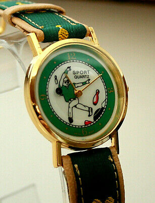 Vintage Bowling Ball & Pin Mystery Dial Watch New NOS 1980s Sport Quartz