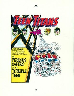 Nick Cardy Teen Titans # 5 pages 1, 10,11,12,13, &14 production art/transparency