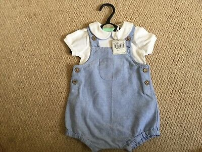 TU blue and white romper dungarees set 3-6 months BNWT