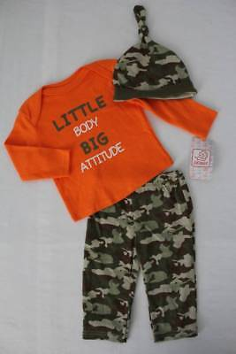 NEW Baby Boys 3 pc Outfit 6 - 9 Month Bodysuit Pants Hat Set Camouflage Attitude
