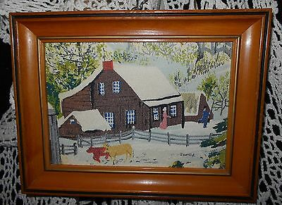 Vintage 1950's Grandma Moses Bark Cloth OLD FARM HOUSE Americana Winter Picture