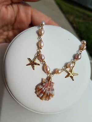 Sunrise Shell Necklace Freshwater Pearl Gold Filled New