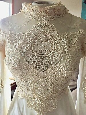 Vintage 1980 Wedding Dress Crochet Lace & Beadwork With Original Box SZ XS 0-2