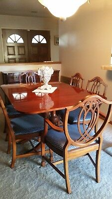 Pre-1950's Duncan Pfyfe Dining Table & 6 Chairs & Cabinet