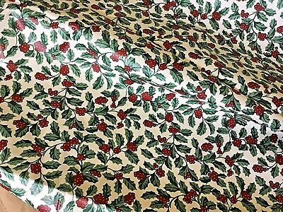Longaberger ~ Traditional Holly Fabric  ( 5 ) Yards 100 % cotton  NIP