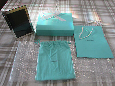Tiffany & Co. 5x7 Pewter Picture Frame w/Dust Pouch, Box, & Bag