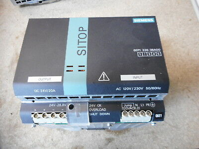 SIEMENS SITOP POWER SUPPLY -- 24VDC 20amps OUTPUT -- 6EP1 336-3BA00