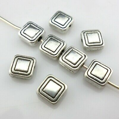 30/60pcs Tibetan Silver Square Charm Loose Spacer Beads 3x6mm Jewelry Findings