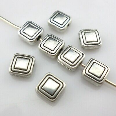 60/500pcs Tibetan Silver Square Charm Loose Spacer Beads 3x6mm Jewelry Findings