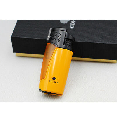 Metal Yellow Cigar Cigarette Lighter 3 Torch Jet Flame With Punch Cohiba