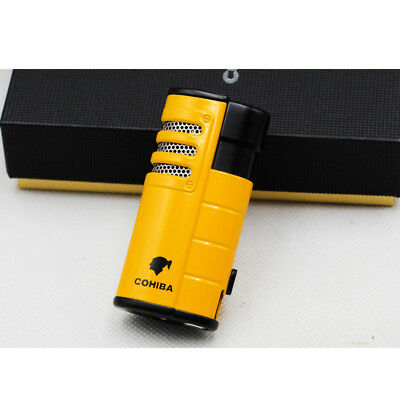 Metal Yellow Cigar Cigarette Lighter 3 Torch Jet Flame W/Punch Cohiba