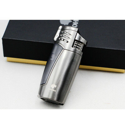 Cohiba Cigar Cigarette Metal Lighter 3 Torch Jet Flame With Punch Gray