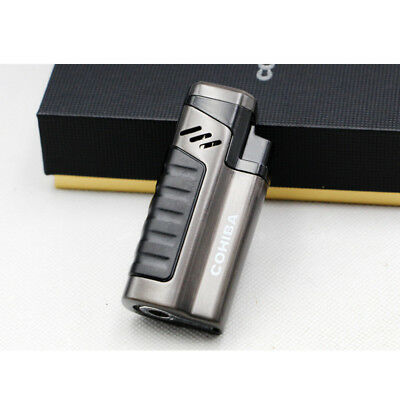 Cohiba Cigar Four Torch Jet Flame Black Cigarette Lighter With Punch Metal