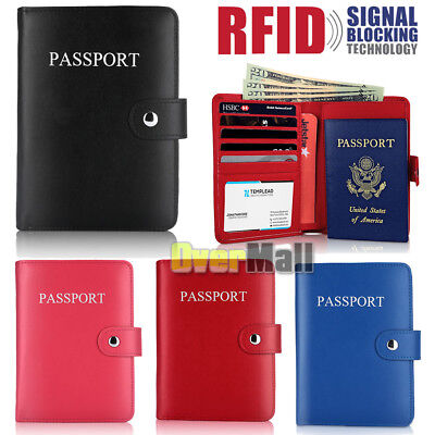 RFID Blocking Leather Passport Holder Case Cover Wallet for Securely Travel Trip