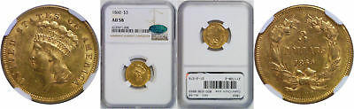 1860 $3 Gold Coin NGC AU-58 CAC