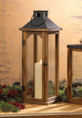 """large 22"""" tall brown wood metal Candle holder Lantern Lamp terrace outdoor patio"""