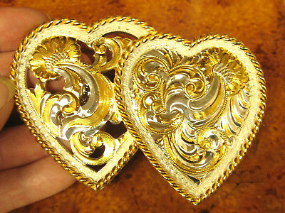 Double Heart Engraved Floral Crumrine Reno Nv Usa Silver Belt Buckle Valentine's