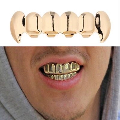 Gold Plated Hip Hop Teeth Grillz Top & Bottom Grill Set Cosplay  Rapper Tooth OX