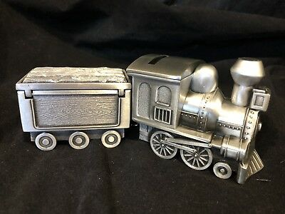 Pewter Train With Carriage Money Box Birth Baby Shower Gift Christening Birthday