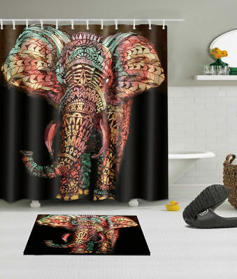 India Elephant Crow Waterproof Fabric Polyester Bath Shower Curtain Hooks 72x72/""