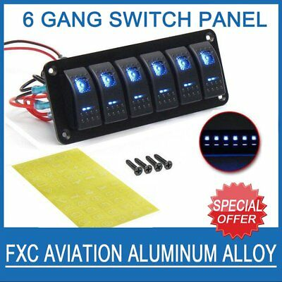 6 Gang Blue LED Rocker Switch Control Panel Circuit Breakers for Boat Marine AU